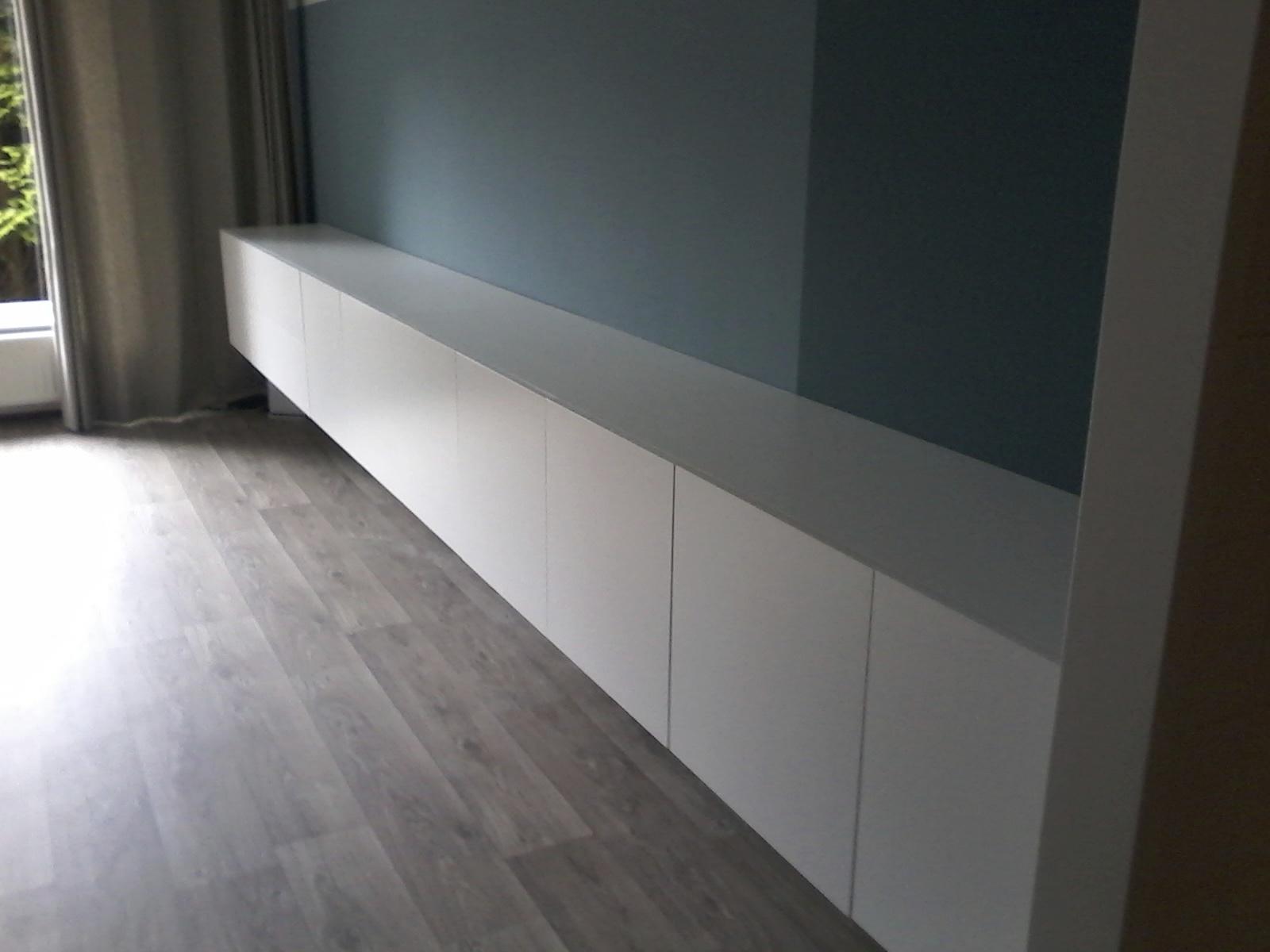 Zwevend dressoir 3 ,5 meter met touch deurtjes